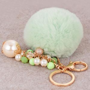 Artificial Pearl Beads Fuzzy Ball Keyring - GREEN