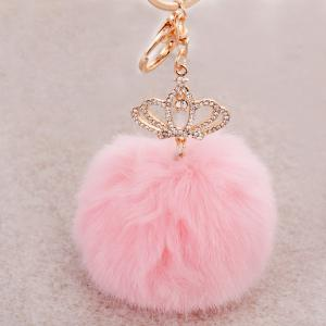 Rhinestone Crown Fuzzy Puff Ball Keyring