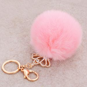 Rhinestone Crown Fuzzy Puff Ball Keyring -