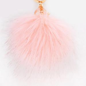 Round Fuzzy Ball Keyring - Pink