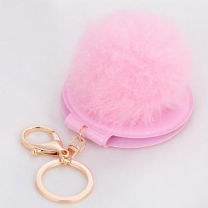 Mirror Fuzzy Puff Ball Keyring