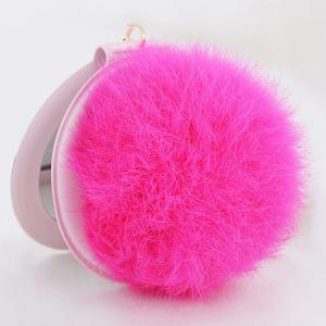 Mirror Fuzzy Puff Ball Keyring -