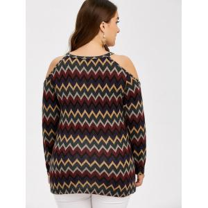 Plus Size Zigzag Cold Shoulder T-Shirt -