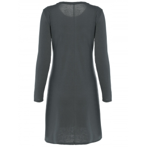 Long Sleeve Plain Swing Dress - DEEP GRAY XL