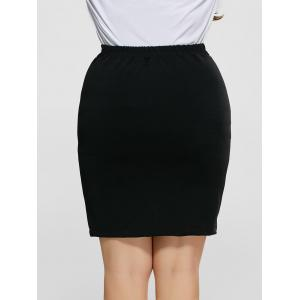 Front Slit Plus Size High Waisted Skirt - BLACK 4XL
