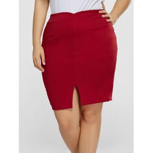 Front Slit Plus Size High Waisted Skirt