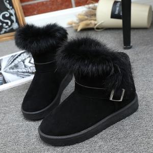 Faux Fur Buckle Strap Snow Boots -