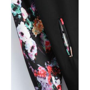 Plus Size Floral Printed Long Bomber Coat -