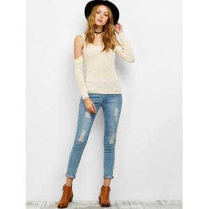 Chunky Cold Shoulder Loose Sweater - OFF-WHITE L