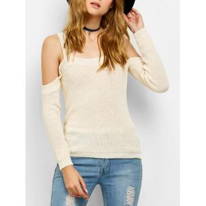 Chunky Cold Shoulder Loose Sweater - Off-white - M