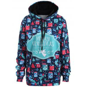 Plus Size Merry Christmas Kangaroo Pocket Patterned Hoodies