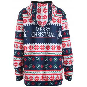 Plus Size Merry Christmas Snowflake Patterned Hoodies - PURPLISH BLUE 3XL