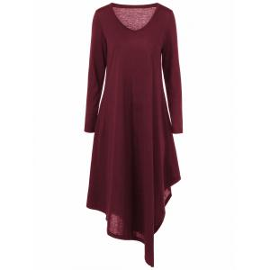 Asymmetrical V Neck Long Sleeved Maxi Casual Dress - Deep Red - 5xl