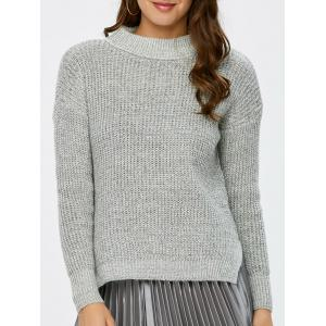 Mock Neck High Low Chunky Knit Sweater - Gray - One Size
