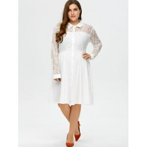 Plus Size Semi Sheer Lace Insert Button Up Shirt Dress -