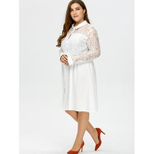 Plus Size Semi Sheer Lace Insert Button Up Shirt Dress - WHITE 4XL