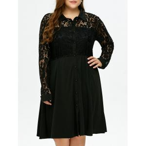 Plus Size Semi Sheer Lace Insert Button Up Shirt Dress - Black - Xl