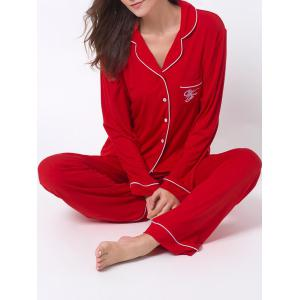 Letter Print Lapel Long Sleeve Sleepwear Sets