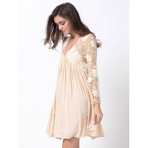Plunging Neck Flare Sleeve Lace Panel Dress - OFF WHITE 2XL