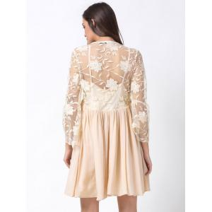 Plunging Neck Flare Sleeve Lace Panel Dress -