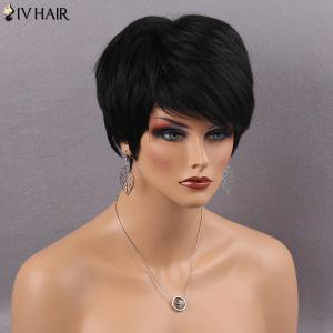 Siv Hair Short Fluffy Side Bang Straight Real Natural Hair Wig -