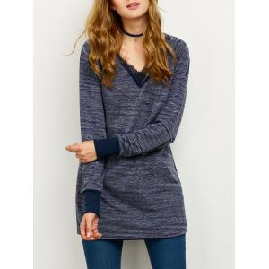 Lace Spliced Casual Loose Sweatshirt