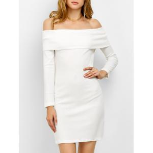 Off the Shoulder Bodycon Long Sleeve Party Mini Dress - White - S