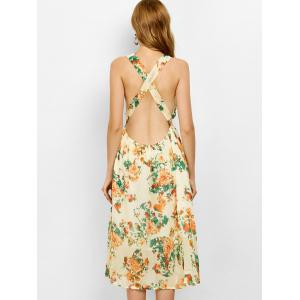 Floral Backless Bohemian Swing Beach Dress -