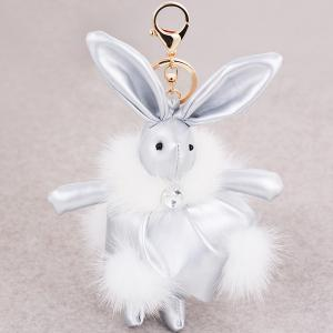 Faux Leather Animal Keychains Rabbit Bag Pendant Keyring - Silver - Stomtrooper Style
