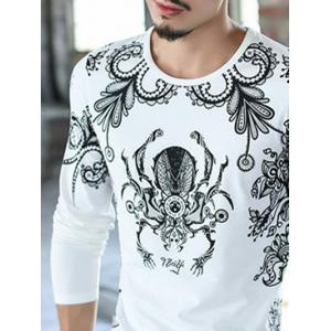 Casual Round Neck Printed T-Shirt - WHITE 4XL
