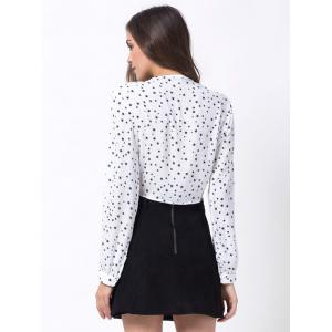 Stars Print Chiffon Tie Crop Shirt Top -