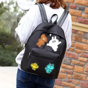 Casual Nylon Cartoon Patches Backpack - BLACK