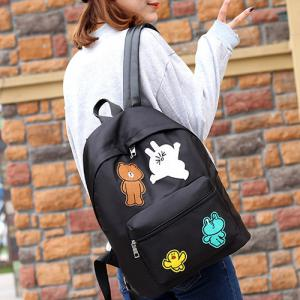 Casual Nylon Cartoon Patches Backpack -