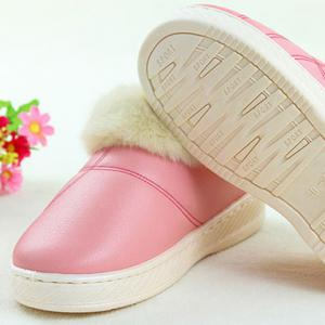 Flocking PU Leather Platform House Slippers -