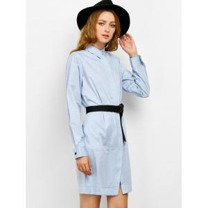 Long Sleeves Belted Midi Shirt Dress -