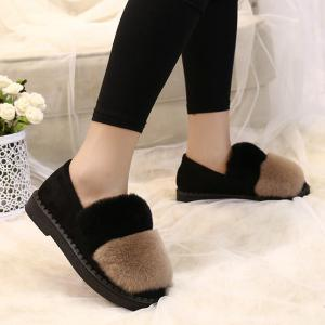 Slip On Color Block Furry Flat Shoes -
