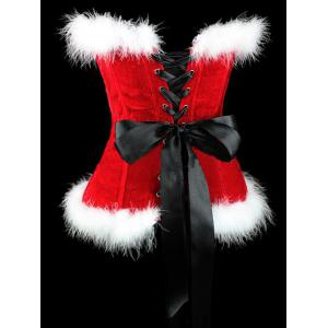 Lace Up Corset Top For Christmas - RED WITH WHITE 2XL