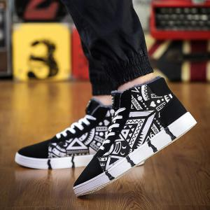Geometric Pattern Lace-Up Casual Shoes -
