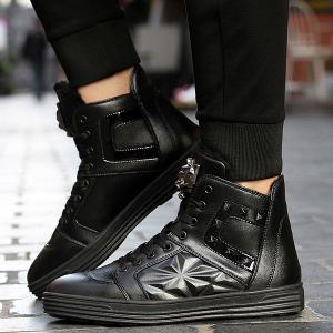 Flocking Metal Rivet High Top Shoes -
