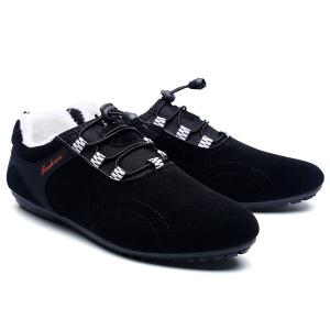 Elastic Band Flocking Suede Casual Shoes - BLACK 43