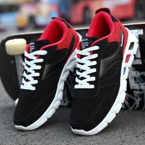 Lace-Up PU Leather Insert Athletic Shoes -
