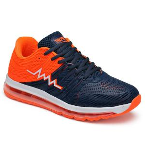 Air Cushion Color Block Mesh Athletic Shoes - Orange - 44