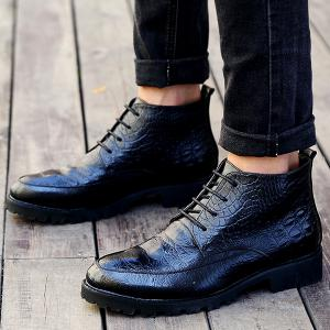 Embossed Lace Up PU Leather Boots -
