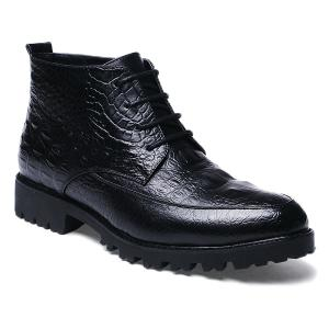 Embossed Lace Up PU Leather Boots - Black - 42