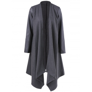Asymmetrical PU Leather Sleeve Coat - Gray - Xl