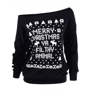 Merry Christmas Reindeer Skew Collar Sweatshirt