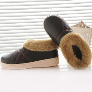 Flocking Stitching PU Leather House Slippers -