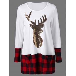 Sequined Reindeer Plaid Trim Christmas T-Shirt
