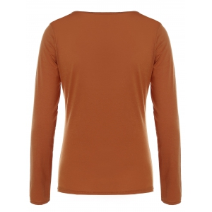 Cut Out Chest Long Sleeve T-Shirt -