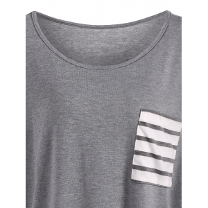 Drop Shoulder Stripe Pocket T-Shirt - GRAY XL